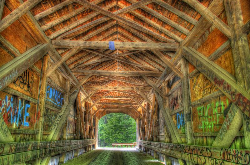 Babbs covered bridge located between Gorham and Windom Maine. The bridge crosses the Presumpscot river.
