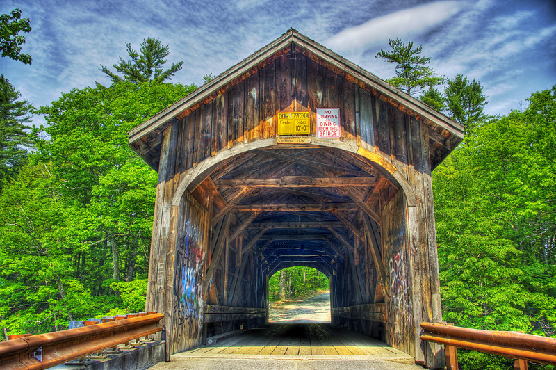 Babbs covered bridge located between Gorham and Windom Maine. The bridge crosses the Presumpscot river.