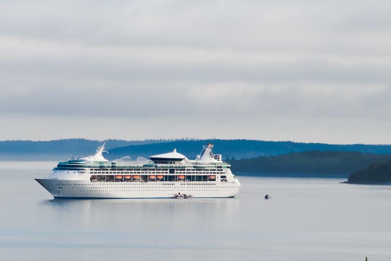 A cruise ship sitting near Bar Harbor, Maine