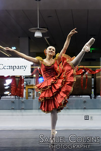 Portland Ballet Company performing in the front window of the Portland Public Library during the First Friday Art Walk.