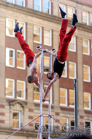 The Red Trouser Show. Performing to support the Circus Conservatory of America. In Monument Square, during the First Friday Art Walk.