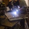 Pete welding new rudder