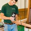 Jeff sanding trim for the wheelhouse