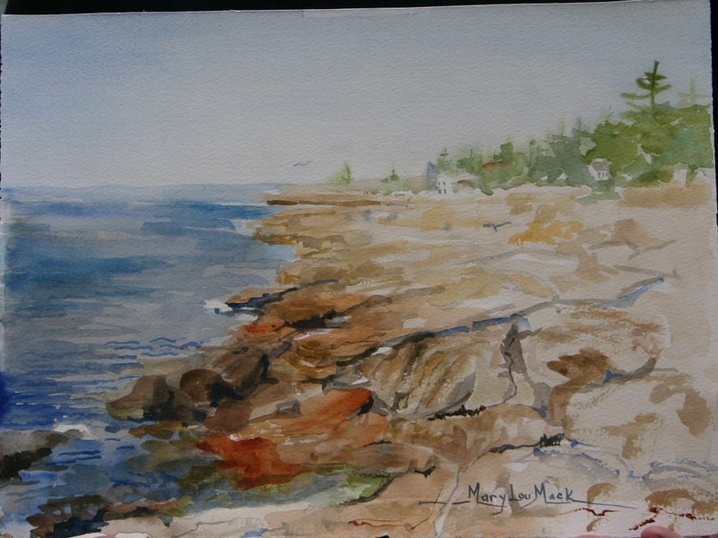 """East Boothbay - Ocean Point<br /> 11""""x 15"""" Price: $500. Unframed"""