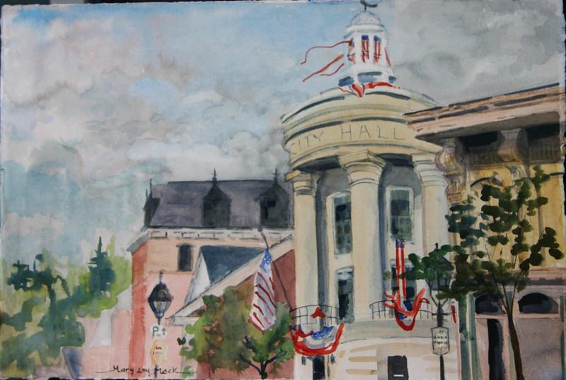 "City Hall - Bath, Maine<br /> 15"" x 22"" Price: 4350. Unframed"
