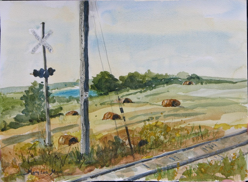 """Haystacks By The Saint Geogre River<br /> 11"""" x 15"""" Price: $200. Unframed"""