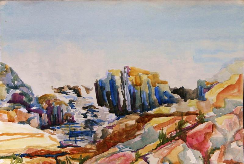 "East Boothbay Harbor Rocks<br /> 15"" x 22"" Price: $175. Unframed"