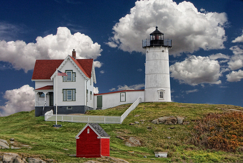 Nubble Lighthouse and Clouds