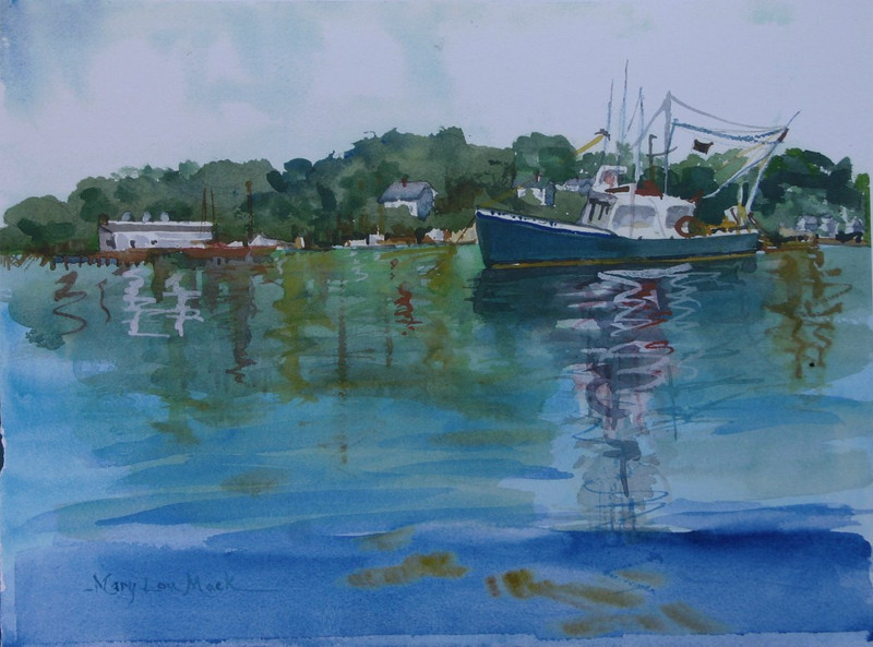"""Cundy Harbor Fishing Boats<br /> 11"""" x 15"""" Price: $250. Framed<br /> Prints Available"""