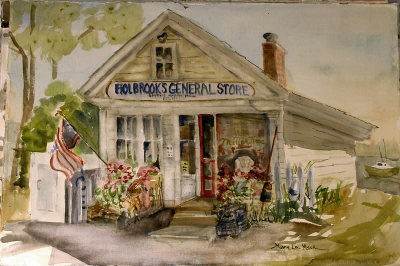 "Holbrook's General Store - Cunding Harbor, Maine<br /> 15"" x 22"" Price: $700. Framed"