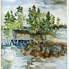 """View From The Tugboat Inn At Boothbay Harbor, Maine<br /> 15' X 11"""" Price: $375. Framed"""