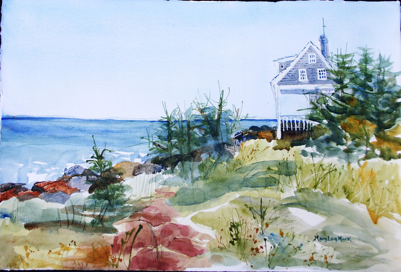 """Jamie Wyeth's House at Lobster Cove, Moheghan Island, Maine<br /> 15""""x 22""""<br /> Price: $500. Unframed"""