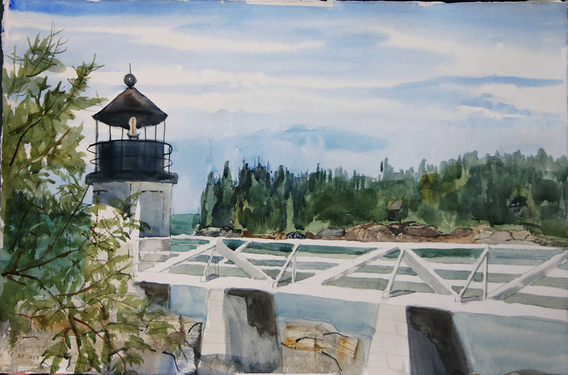 """Marshall Point Lighthouse<br /> 15"""" x 22"""" Sold<br /> Prints Available"""