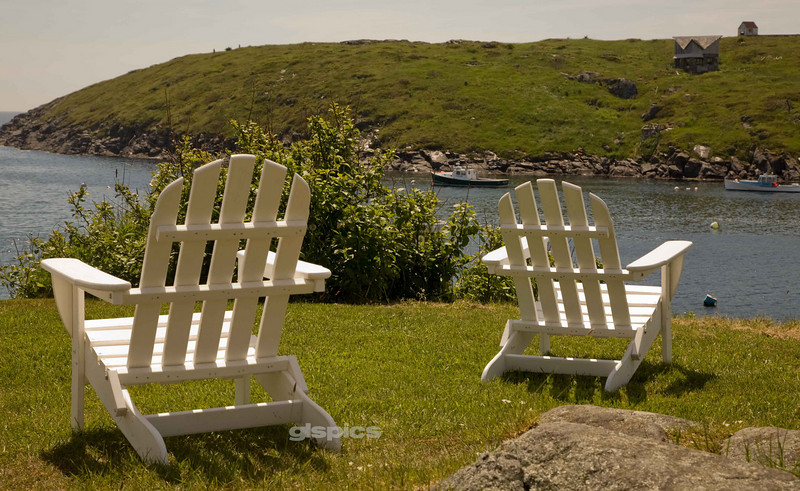 Adirondack Chairs on Monhegan Harbor, Maine
