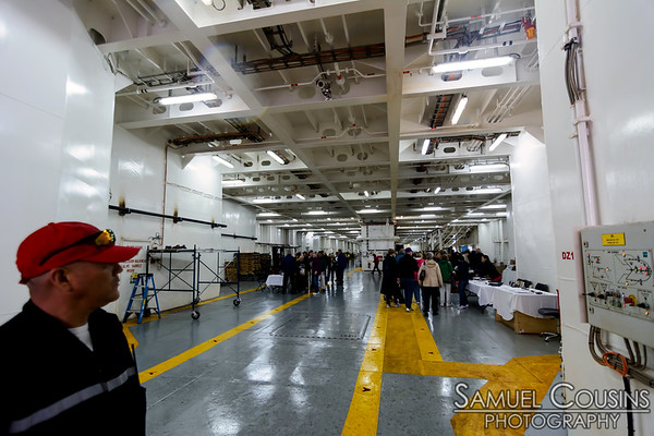 Inside the Nova Star. In the hold where all the cars park. There are three levels for parking.