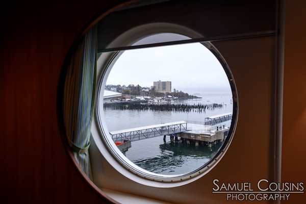 On the Nova Star, looking out a porthole towards Portland's east end.