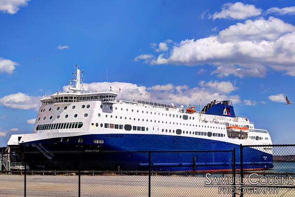 The new Portland - Yarmouth ferry, the Nova Star, docked at the Ocean Gateway.
