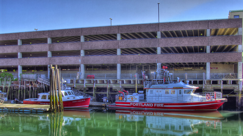 Two Portland fire boats tired up at Long Wharf Portland Maine.