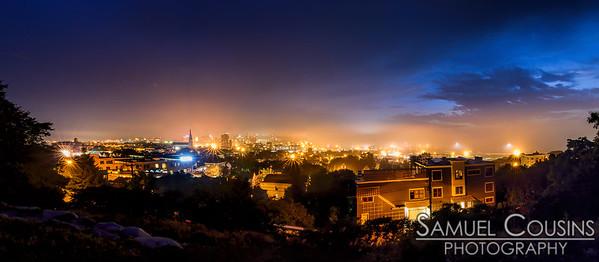 Foggy evening in Portland, Maine