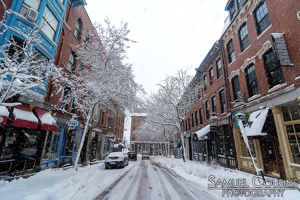 Bottom of Exchange St during a big snow storm.