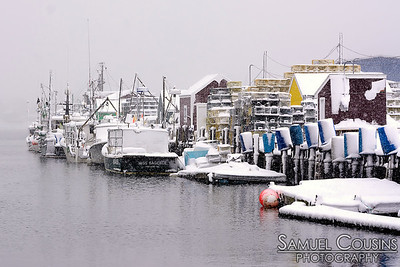 On the waterfront during a snow storm