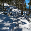 The trail was deep soft snow, perfect for snowshoeing.