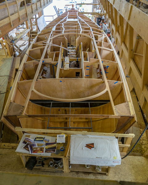 At the Brooklin Boat Yard, a fantastic 74'  Daysailor, a Frers design and styled by Frank Gehry's architectural group.