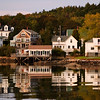 Homes line the shore at Boothbay harbor, Boothbay Maine
