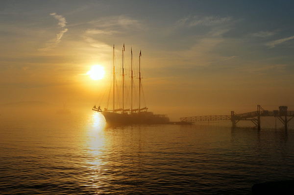 The Margaret Todd at sunrise on Frenchman Bay, Bar Harbor Maine. She is a 151' four mast schooner that was built in St. Augustine, Florida in 1998.