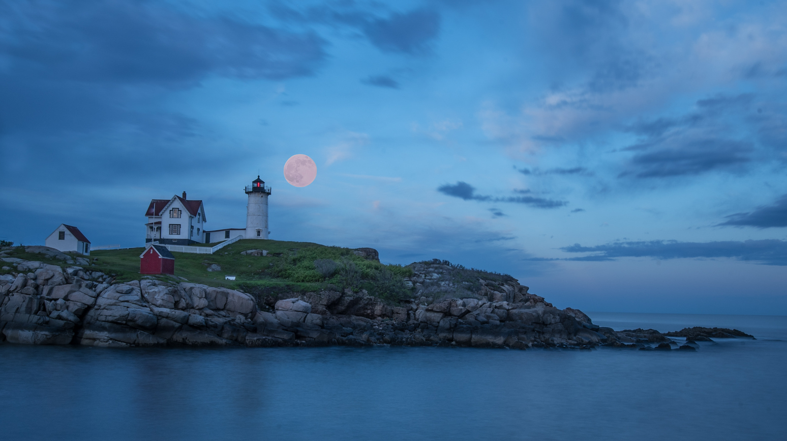 The Strawberry Moon over the Nubble Light