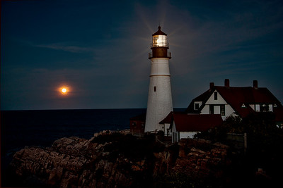 Portland Light with a Full Moon