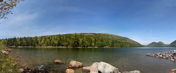Jordon Pond which was formed during the last glacial period, in Arcadia National Park. Directly in front is Penobscot Mountain, and in the far right distance are the two mountains called the Bubbles.