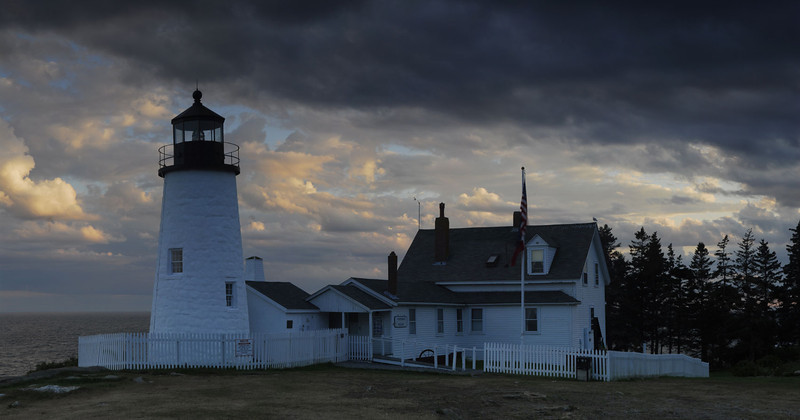 Passing Storm - Pemaquid Point Lighthouse - Panoramic 4 vertical images - Maine Coast - Doug Beezley - August 2010