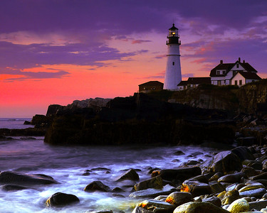 Sunrise at Portlandhead Lighthouse - Acadia National Park Tour - John Remy - August 2010