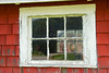 """Red Barn Window,"" color photo"
