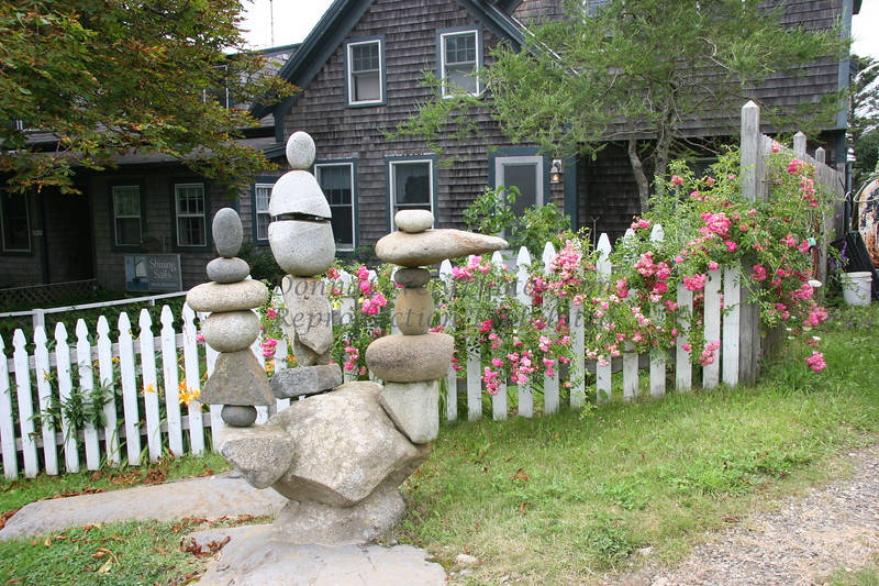 """""""Rock Cairn Sculpture and Island Roses, Monhegan Island, Maine,"""" color photo"""
