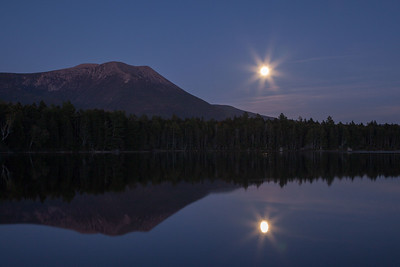 This Super Moon on September 27th was followed by a total solar eclipse after midnight.  Kidney Pond and Mt. Katahdin, Baxter State Park, Maine.