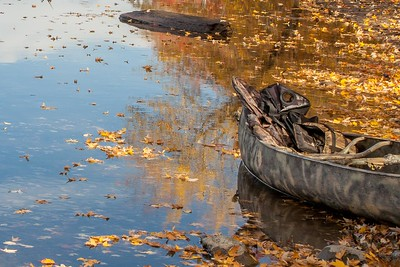 Canoe at the edge of the Penobscot River