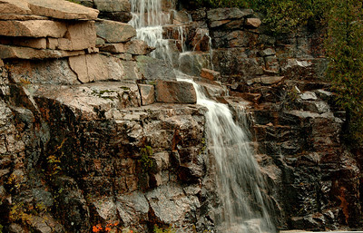 Rainwater creating a waterfall along the road to Cadillac Mountain.