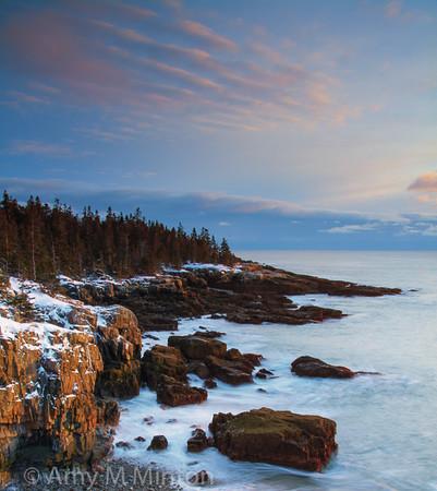 Sunset at the Ravens Nest, Acadia National Park, Schoodic Peninsula, Maine - February 2016