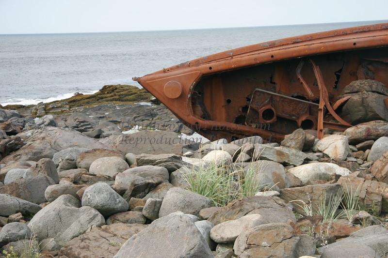 """Shipwreck on Monhegan Island, Maine,"" color photo"