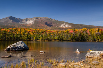 Fall colors - Sandy Springs Pond and Mt. Katahdin, Baxter State Park, Maine.