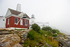 """Pemaquid Lighthouse and Bell in Fog, Maine,"" color photo"