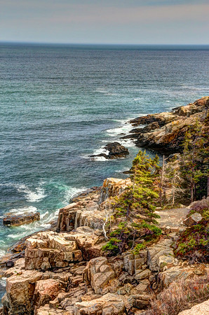 Tides coming in along the coastline of Maine's Arcadia National Park.