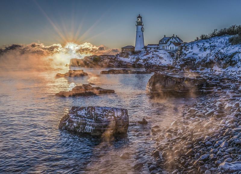 Portland Head Light Sea Smoke New Years 2018