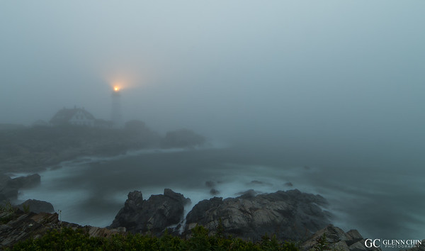 Portland Head Light in the fog
