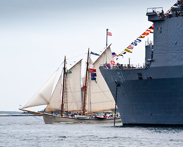 Schooner Nathaniel Bowditch and the USS Oak Hill (6131)