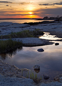 Sunset over Boothbay Harbor, Maine (23095-23099)