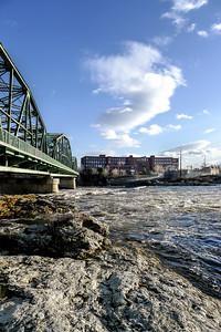 Androscoggin River and Wood Bridge, Brunswick, Maine  (00102)