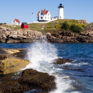 Crashing Wave at Nubble Light, York, Maine  (67950-sq format)